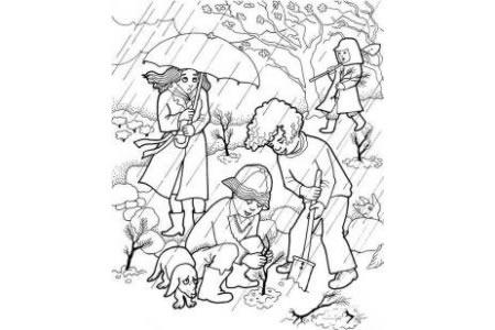 植树节简笔画 男孩在花园里植树