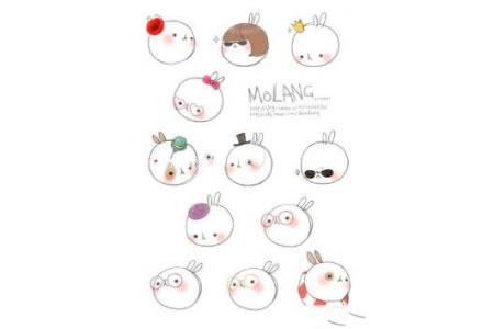 一组可爱的牛氓兔简笔画图片