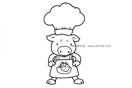 小猪厨师简笔画图片