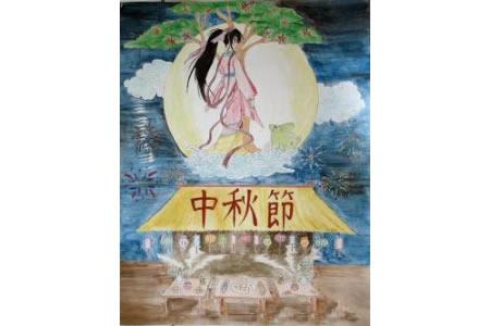 月宫中的嫦娥姐姐中秋节少儿画作品