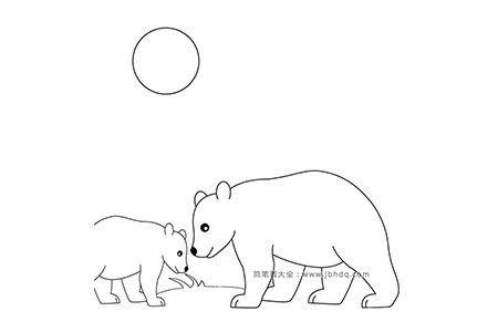 月光下的北极熊母子