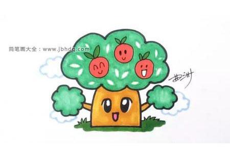 简笔画教程:画苹果树