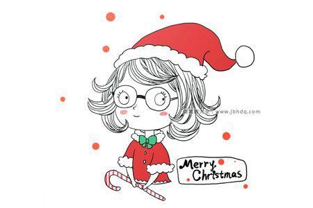 圣诞女孩简笔画