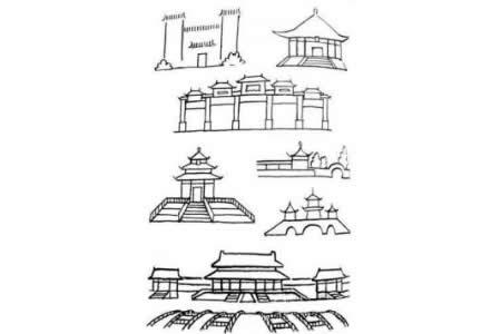 天安门故宫简笔画图片