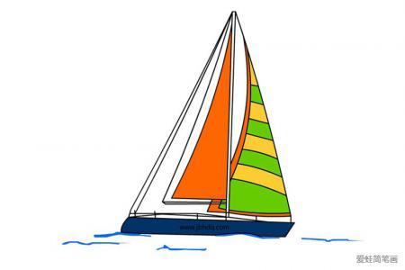 小型帆船简笔画带颜色