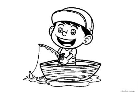 钓鱼的小男孩简笔画图片