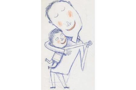 友爱的父子素描画作品欣赏