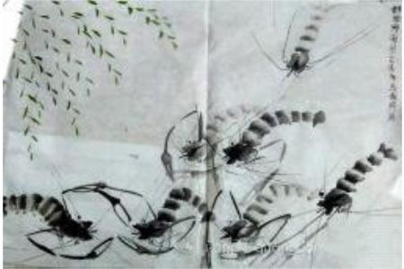 虾趣图中国花鸟画考级优秀作品集