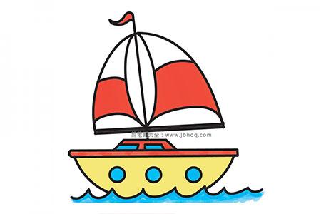 一步一步学画卡通帆船简笔画