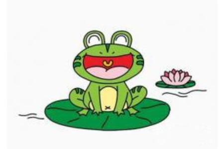 池塘边的青蛙简笔画画法
