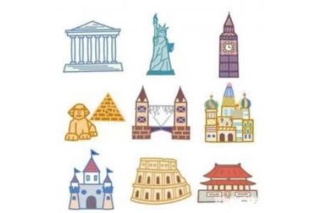 知名建筑彩色简笔画图片
