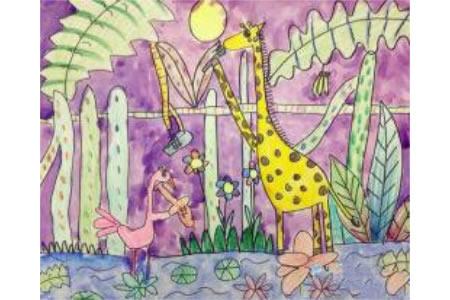 简单的动物场景画作品之长颈鹿和火烈鸟
