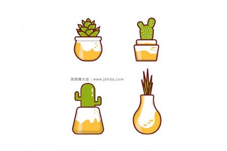 一波肉嘟嘟的盆栽小植物简笔画
