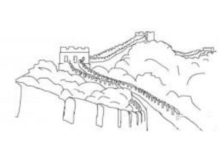 建筑简笔画 中国长城简笔画图片