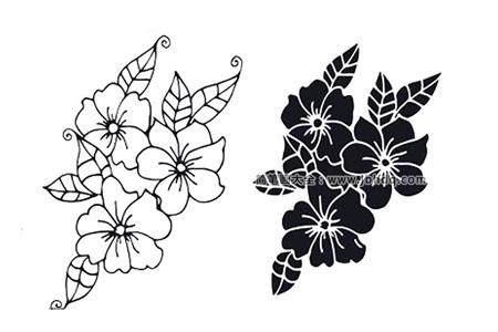 八张漂亮的黑白风格花朵简笔画图片