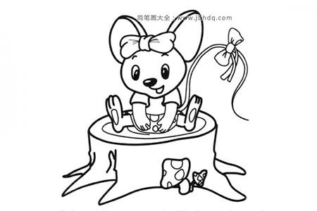 可爱的卡通小老鼠简笔画图片