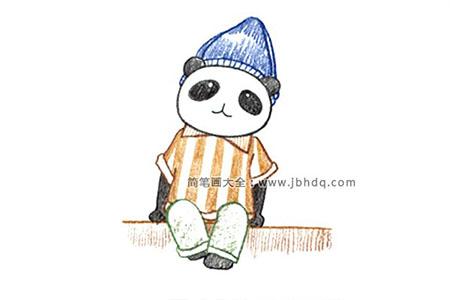 画坐着的大熊猫
