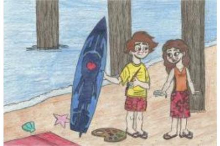 去海边冲浪儿童画快乐暑假