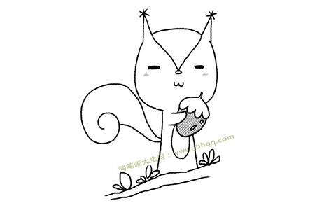 树枝上的松鼠简笔画图片