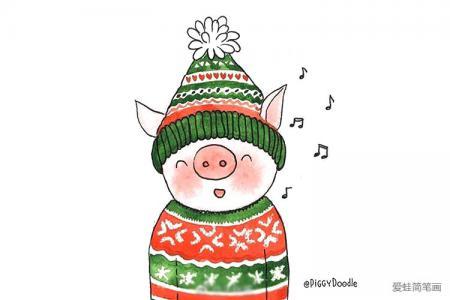 一组可爱圣诞小猪