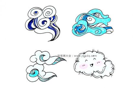 卡通云朵的简笔画图片