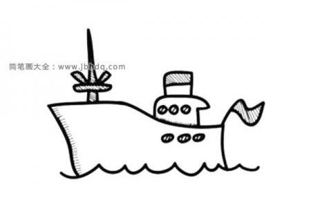 可爱的小轮船简笔画