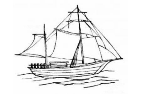 帆船简笔画图片