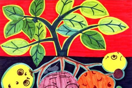 画植物儿童水彩画 土豆家族