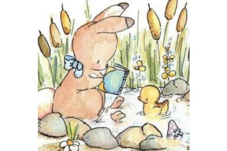 小兔子和小鸭子动物水彩画欣赏