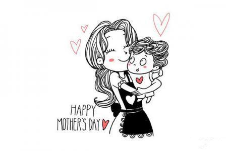 八步学画母亲节妈妈和宝宝