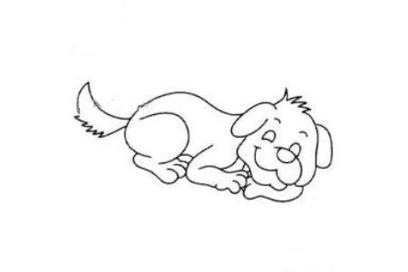 一组可爱的卡通小狗简笔画