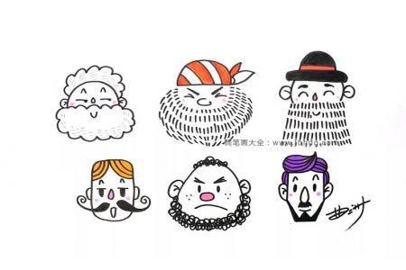 6个卡通人物头像简笔画图片