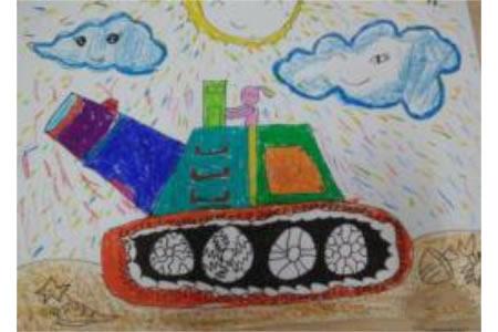 彩色坦克图片,国庆节儿童画在线欣赏