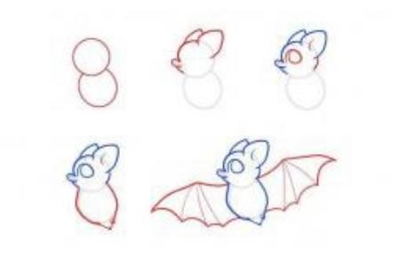简笔画教程 蝙蝠简笔画步骤图