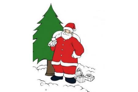 圣诞老人和冬青树