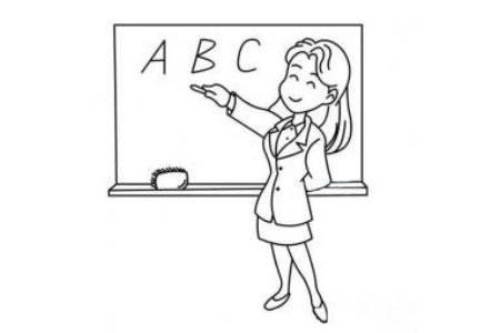 一组女老师简笔画图片