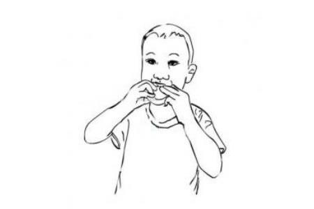 吃月饼的小男孩简笔画