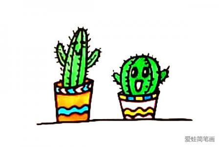 可爱的卡通仙人掌盆栽