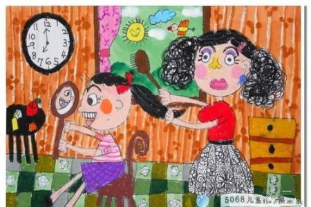 妈妈给我梳头发母亲节绘画作品分享