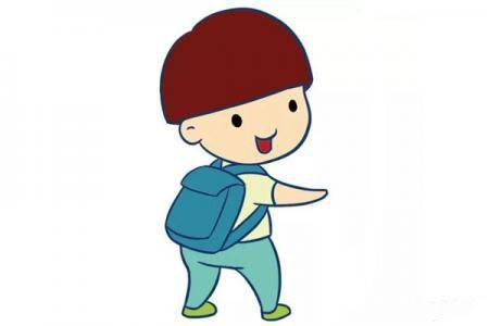可爱锅盖头小男孩简笔画