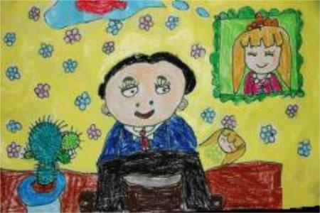 父亲节儿童画 我的爸爸儿童画作品