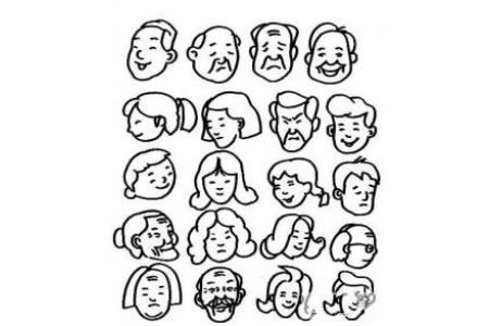 各类人物头像简笔画