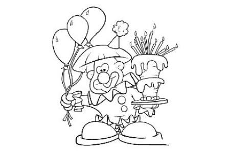 节日小丑和蛋糕