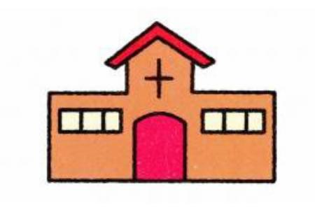 教堂简笔画画法