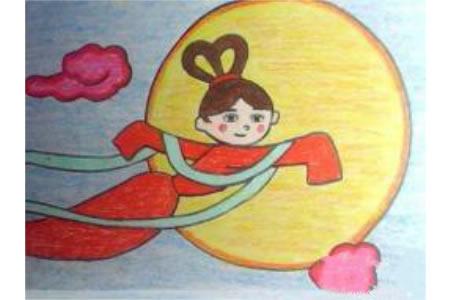 儿童版的嫦娥奔月简笔画