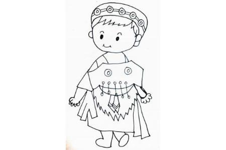 土家族小女孩简笔画