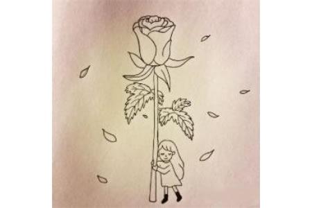 玫瑰花少女简笔画步骤图