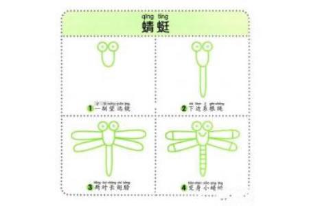 蜻蜓简笔画教程