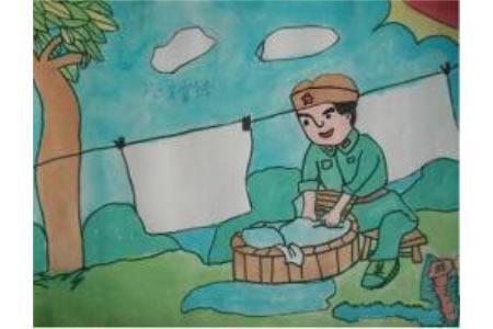 学习雷锋好榜样小学生水彩画欣赏