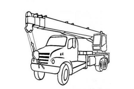 工程车图片 带随车起重机的卡车简笔画